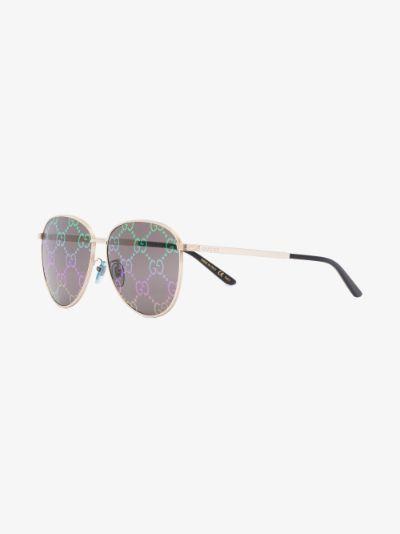 silver tone New light Aviator monogram sunglasses