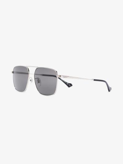 silver tone square aviator sunglasses