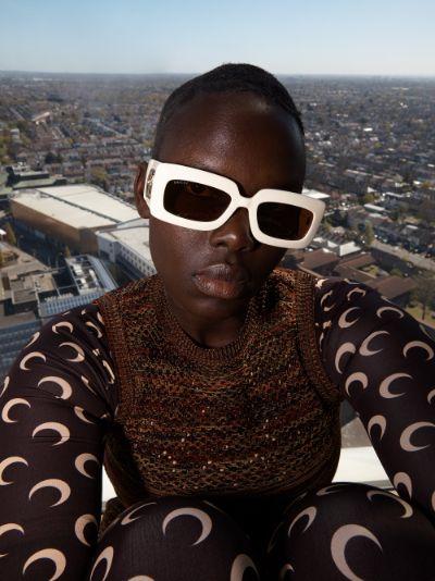 white and brown GG logo rectangular sunglasses