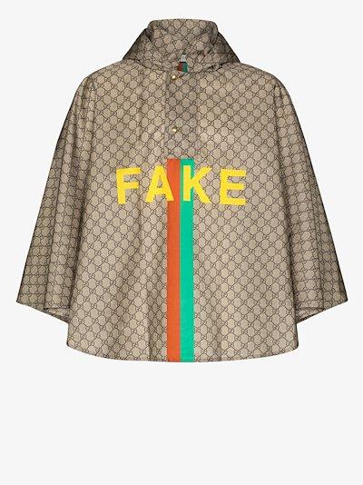 Fake/Not monogram hooded poncho