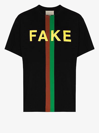 Fake/Not print organic-cotton T-shirt