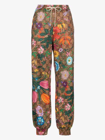 Floral monogram print track pants