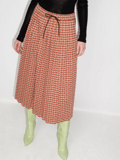 geometric jacquard midi skirt