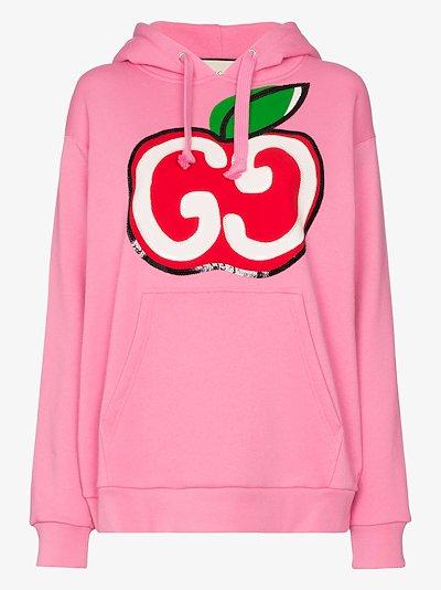 GG apple logo cotton hoodie