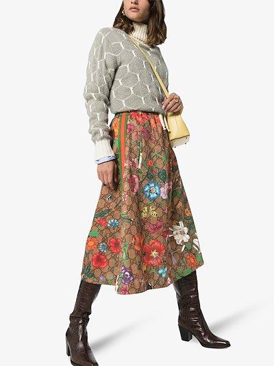 GG floral print midi skirt