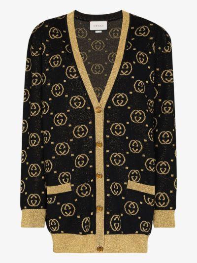 GG jacquard lamé wool cardigan