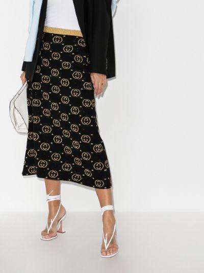 GG jacquard lamé wool skirt