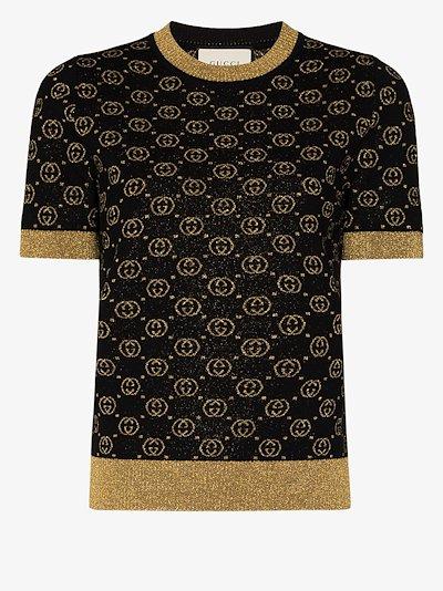 GG jacquard lamé wool sweater