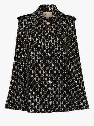 GG jacquard wool cape