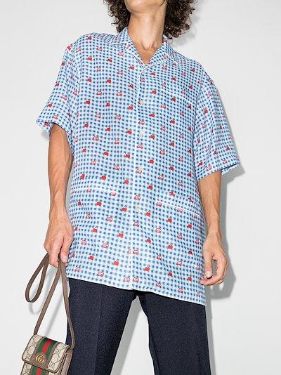 gingham logo linen shirt