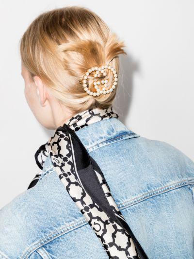Gold Tone GG Pearl Hair Clip