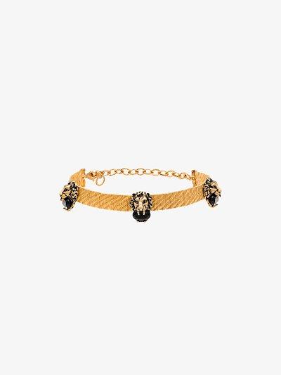 gold tone lion head choker necklace