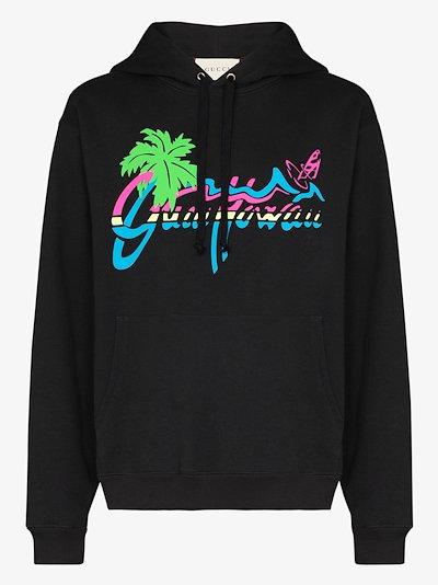 Hawaii print cotton hoodie