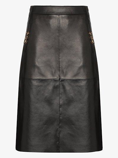 horsebit leather skirt
