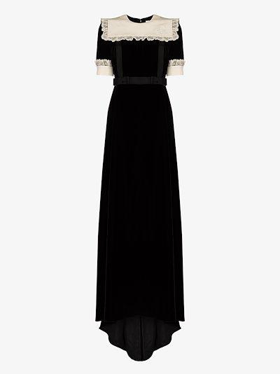 lace bib bow maxi dress