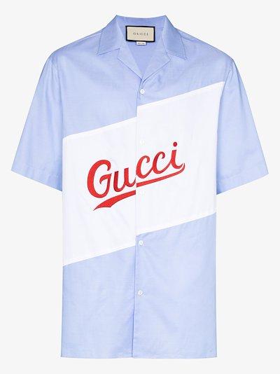 logo oversized bowling shirt