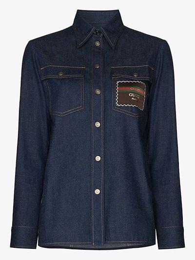 logo patch denim shirt
