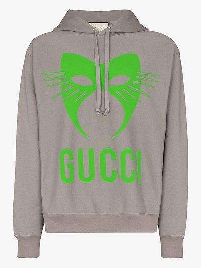 mask logo cotton hoodie