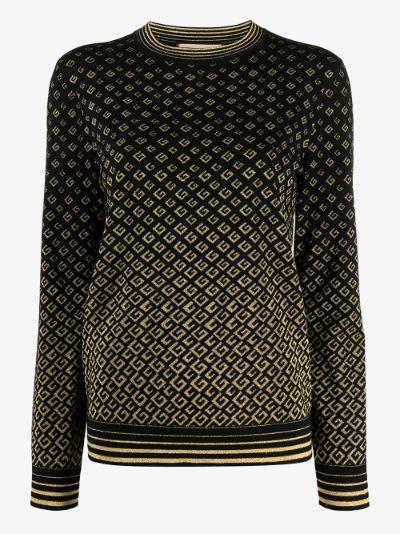 metallic monogram sweater