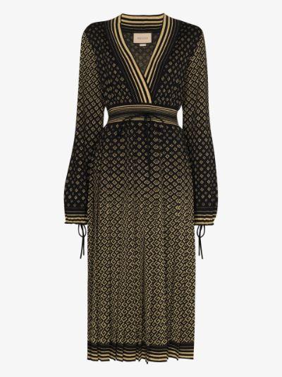 metallic monogram V-neck dress