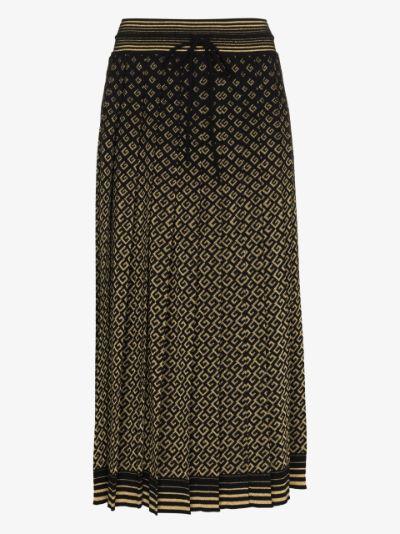Monogram pleated midi skirt
