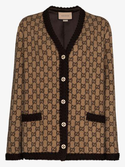 monogram wool cardigan