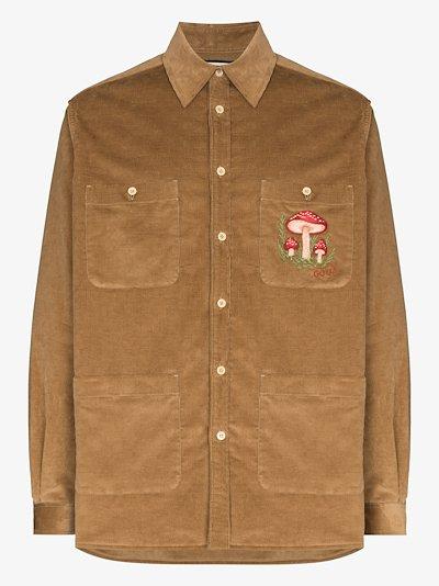 mushroom embroidered corduroy shirt jacket