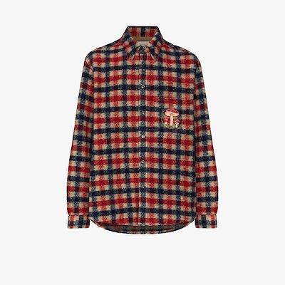 mushroom embroidery check shirt