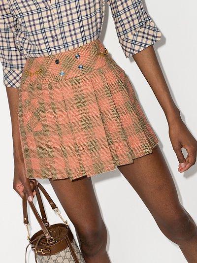 Optical pleated wool mini skirt
