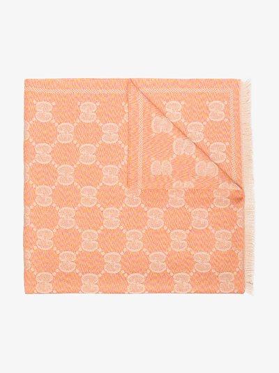 pink GG jacquard wool scarf