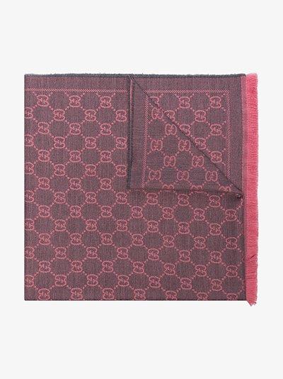 pink GG logo wool scarf