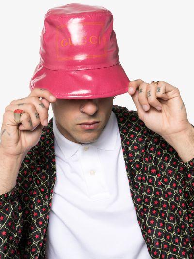 pink logo print bucket hat