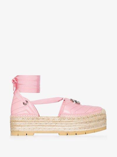 pink pilar flatform leather espadrilles