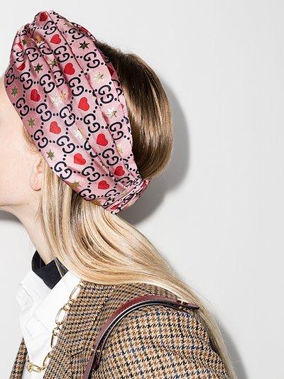 pink silk logo headband