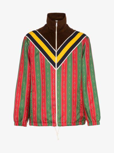 printed colour-block zipped jacket