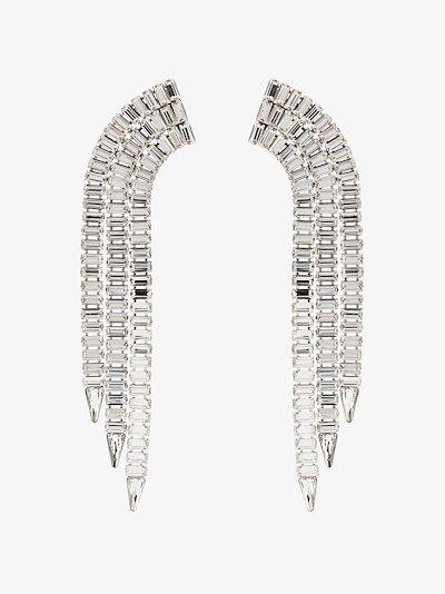 silver tone crystal tassel earrings