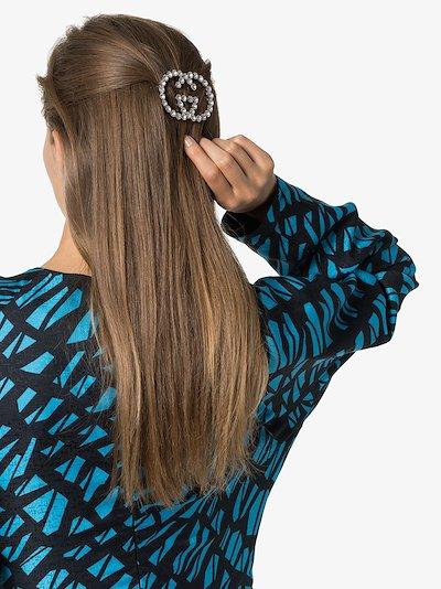 silver tone GG crystal hair clip