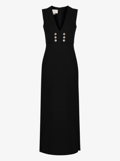 sleeveless crystal button dress