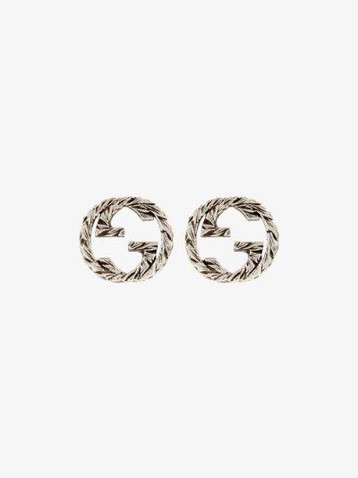 sterling silver interlocking G stud earrings