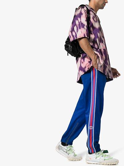 striped cotton track pants