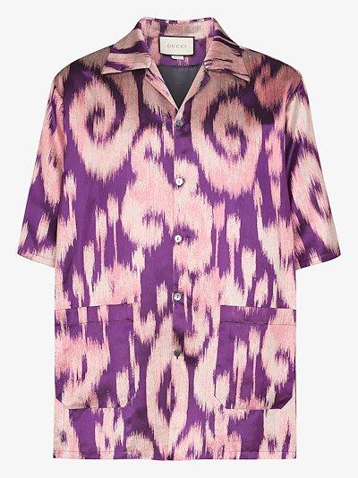 swirl print bowling shirt