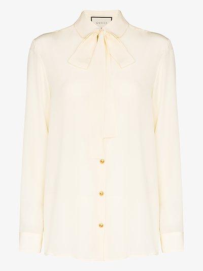 tie neck silk blouse