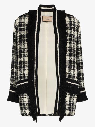 tweed long-sleeve coatigan