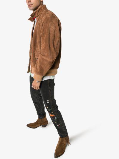 web collar suede jacket