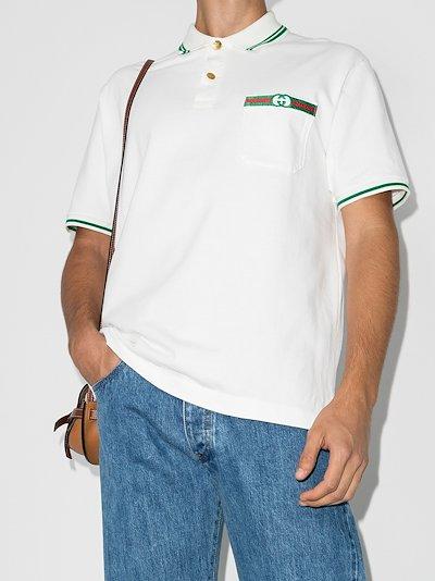 web stripe cotton polo shirt