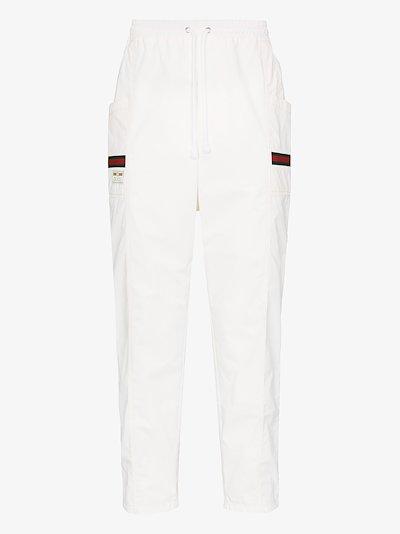 Web stripe cotton sweatpants