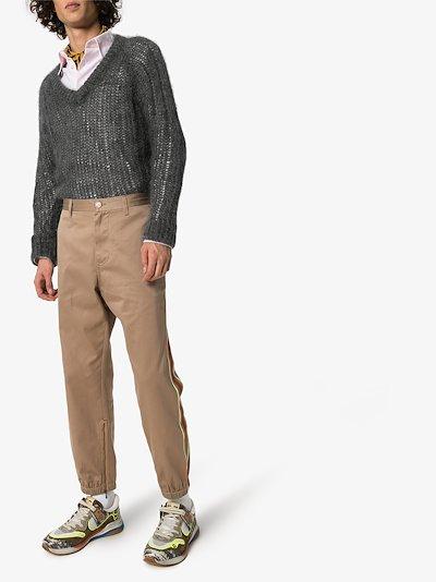 Web stripe cotton trousers