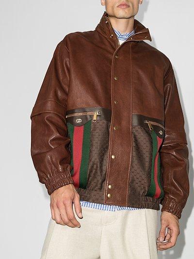 Web Stripe leather jacket