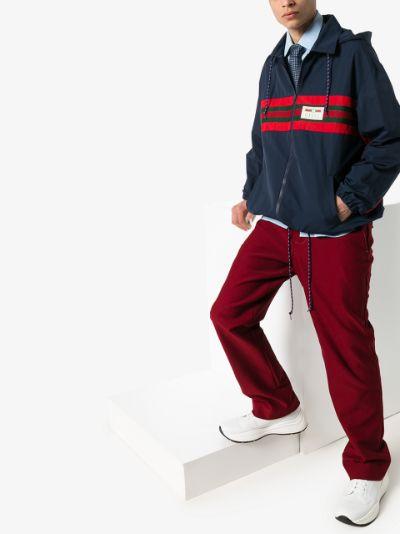 Web stripe logo hooded jacket