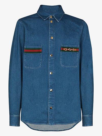 Web stripe pocket denim shirt